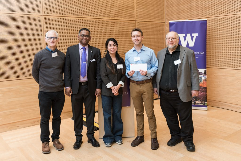 From left:  Professor Blake Hannaford, Professor and Radha Poovendran, Jun Li, Andrew Haddock and  Howard Chizeck